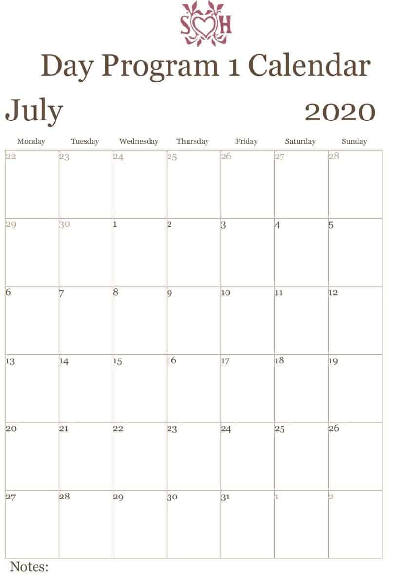 Day Program 1 Calendar